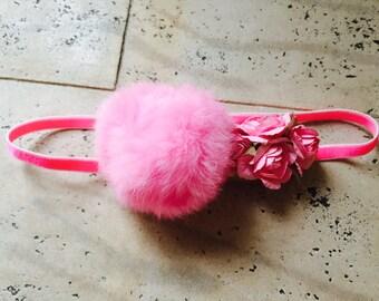 Flamingo costumeHeadband Fur Ball and Newborn Flower crown  Paper Elastic Band Hair Accessory Pink Felt hair crown flower tiara pink