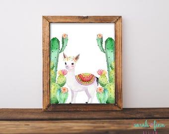 Llama Cactus Print Llama Gift Cactus Decor Baby Shower Alpaca Home Wall Decor Nursery Wall Art Instant Download Printable Fiesta