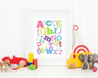 ABCs Wall Art, ABC Nursery Art, Boy or Girl Nursery, Gift for Baby Shower, Alphabet Print