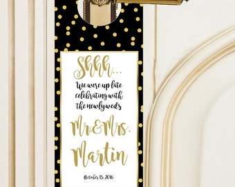 20 Black with gold dots & gold text Do-Not-Disturb Door Hangers for Wedding Welcome Bags, hospitality bags, out of town guests welcome bags