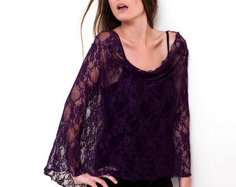 Plus size shrug bolero, lace with 4 wearing options- shawl, shrug, crisscross and infinity scarf (CL)