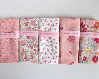 "5"" x 5""  5 FLORAL Japanese fabric Patchwork Charm Squares Pink No.9"