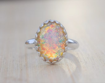 Fire Opal Ring, Pink Fire Opal Ring, Statement Ring, Pink Opal Ring, Silver Opal Ring, Opal Ring, October Ring, Birthstone Ring