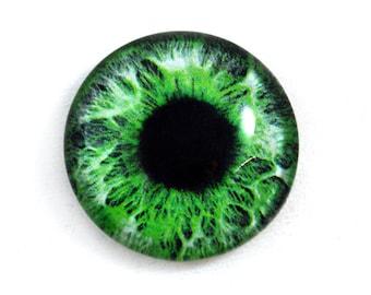 25mm Green Glass Eye for Pendant Jewelry Making or Taxidermy Human Fantasy Doll Eyeball Flatback Circle 1 inch
