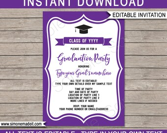 Graduation Party Invitations - purple & white - Printable Template - Any Year - Grad Invite - INSTANT DOWNLOAD with EDITABLE text