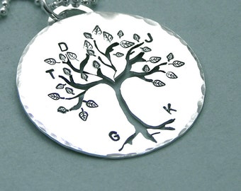 Personalized Family Tree Necklace - Mother - Grandmother - Hand Stamped and Pierced Sterling Silver Tree of LIfe