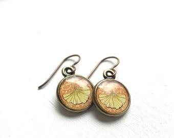 GINKGO EARRINGS, Ginkgo Leaf Jewelry, Ginkgo Earrings, Ginkgo Art Jewelry, Nature Earrings, Bronze Earrings, Art Nouveau Inspired