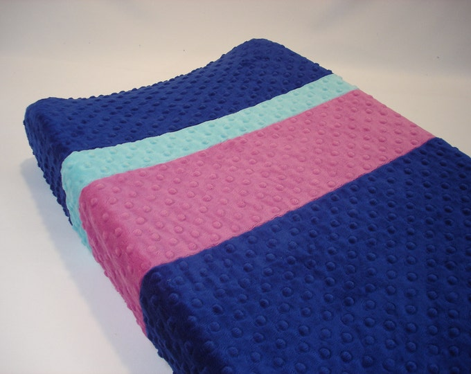 Sapphire Blue Changing Pad Cover with Stripes