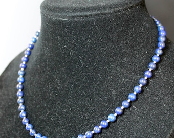 Blue Lapiz Lazuli Gemstone Beaded Necklace