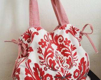 Damask purse,red,bag,cotton Purse, Red,White,shoulder bag,tote