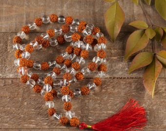RUDRAKSHA MALA & Clear QUARTZ Mala Necklace with Mala Tassel - 6mm or 8mm Beads - 108 Mala Beads - Rudraksha Bead, Rudraksha Necklace E0432