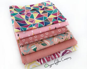 Pretty in Pink - Organic Fabrics - Shop Curated Collection - Fat Quarter Bundle