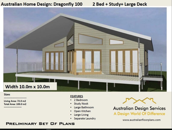 2 Bed + Study Nook Home Design | House Plan SALE | Living Area 72 M2 Total  Area 100m2 Or 1076 Sq Foot