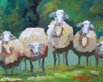 Sheep waiting for the Shearing 11x14 oil painting Contemporary Art by Delilah