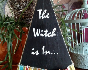 Handpainted Wooden Witch's hat