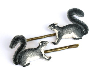 Squirrel Bobby Pins - Squirrel Jewelry - Woodland Jewelry - Squirrel - Animal Jewelry - Shrink Plastic - Squirrel Accessories - Illustration