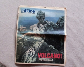 Sale!  MOUNT ST HELENS Volcano Chicago Tribune Special Report Aug 3, 1980 Very Rare Newspaper Section