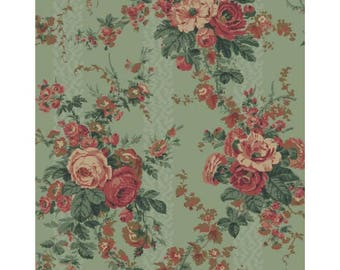 By The HALF YARD - The Yorktown Collection by Sara Morgan for Blue Hill, Patt #8242-023, Large Tonal Pink Floral Bouquet on Green, Civil War