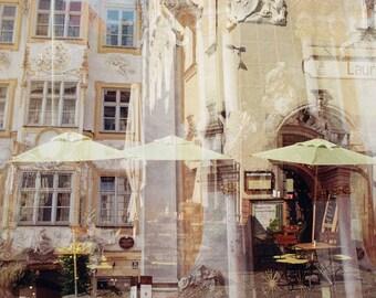 Street  View Munich, Fine Art Photography, Double Exposure, Print, Baroque Building Fronts