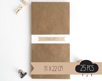 Envelope DL / kraft brown / 11 x 22 cm / 25 pieces
