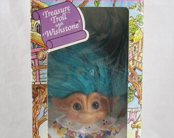 "Treasure Troll with Wishstone Turquoise Hair Ace Novalty 4"" New in Box"