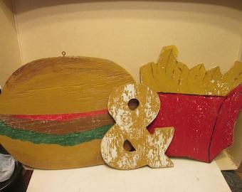 Folk art 'Burger & Fries' wood sign from old diner?