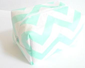 Mint Chevron Makeup Bag  - Cosmetic Pouch -  Pink Chevron Waterproof Bag