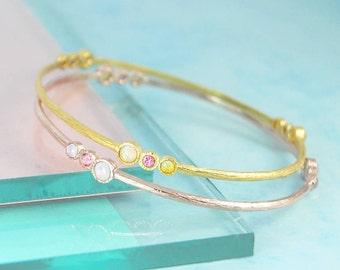 October Birthstone Bracelet, Birthstone Bangle, Opal Bracelet, Tourmaline Bangle, Gold Bangle, Gold Bracelet, Gemstone Bangle, Unusual Gift