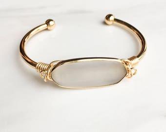 Grey Gemstone Bracelet, Gold Cuff Bracelet, Gift for Her, bridesmaid gift, gift, present, Gold Edge Cuff Bracelet, Gift for her, Chic
