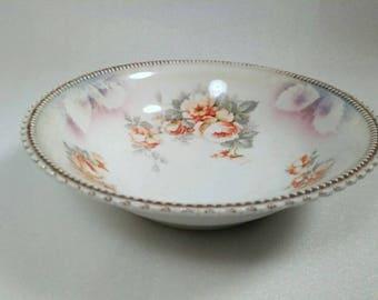 Antique Floral Design Serving Bowl