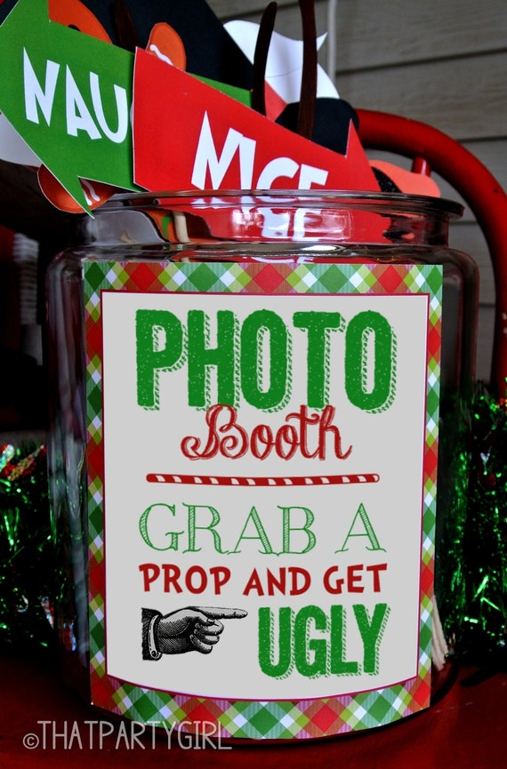 Creative Christmas Party Ideas Part - 17: Ugly Sweater Party Photo Booth Props Package - DIY INSTANT DOWNLOAD