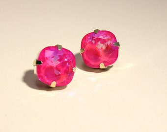 Hot Pink Earrings Neon Ultra AB Crystal Stud Classic Sparkling Fluorescent Summer Solitaire Swarovski Brght Sterling Silver Post Gold Copper