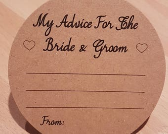 Wedding Advice Coasters Bride and Groom Advice on Recycled Brown Kraft Card KP021 BL/KP