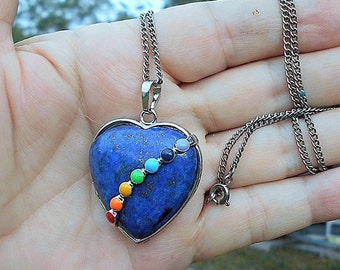 SALE 7 Bead Lapis Chakra Heart on Silver Tone Necklace Only 14.90