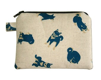 Shiba Inu Zipper Pouch - Small Coin Purse - Padded Pouch - Dog Purse - Kawaii Purse - Shiba Inu Purse