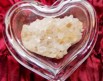 Clear Glass Heart Box with Natural Quartz Crystal Cluster
