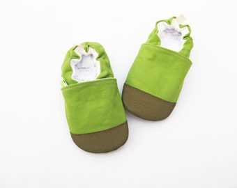 Organic Heavy Canvas Avocado Green / non-slip soft sole shoes / made to order / babies toddlers preschool