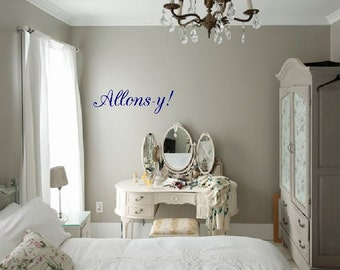 Allons-y!- door decal, wall art, doctor who home decor