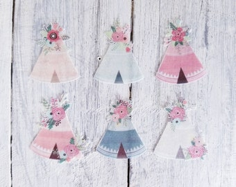 Teepee - Tent - Glamping -Boho Watercolour Wafer Rice Paper. Cupcake, cookie, cake and more toppers