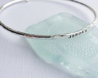 Handmade 2.5mm Sterling Silver Personalised Bangle - NAME - WORD -