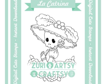 Digital Stamp, Catrina, Scrapbooking Digital Stamp, Instant Download, Zuri Artsy Craftsy, Digi Stamp, Cardmaking, coloring page