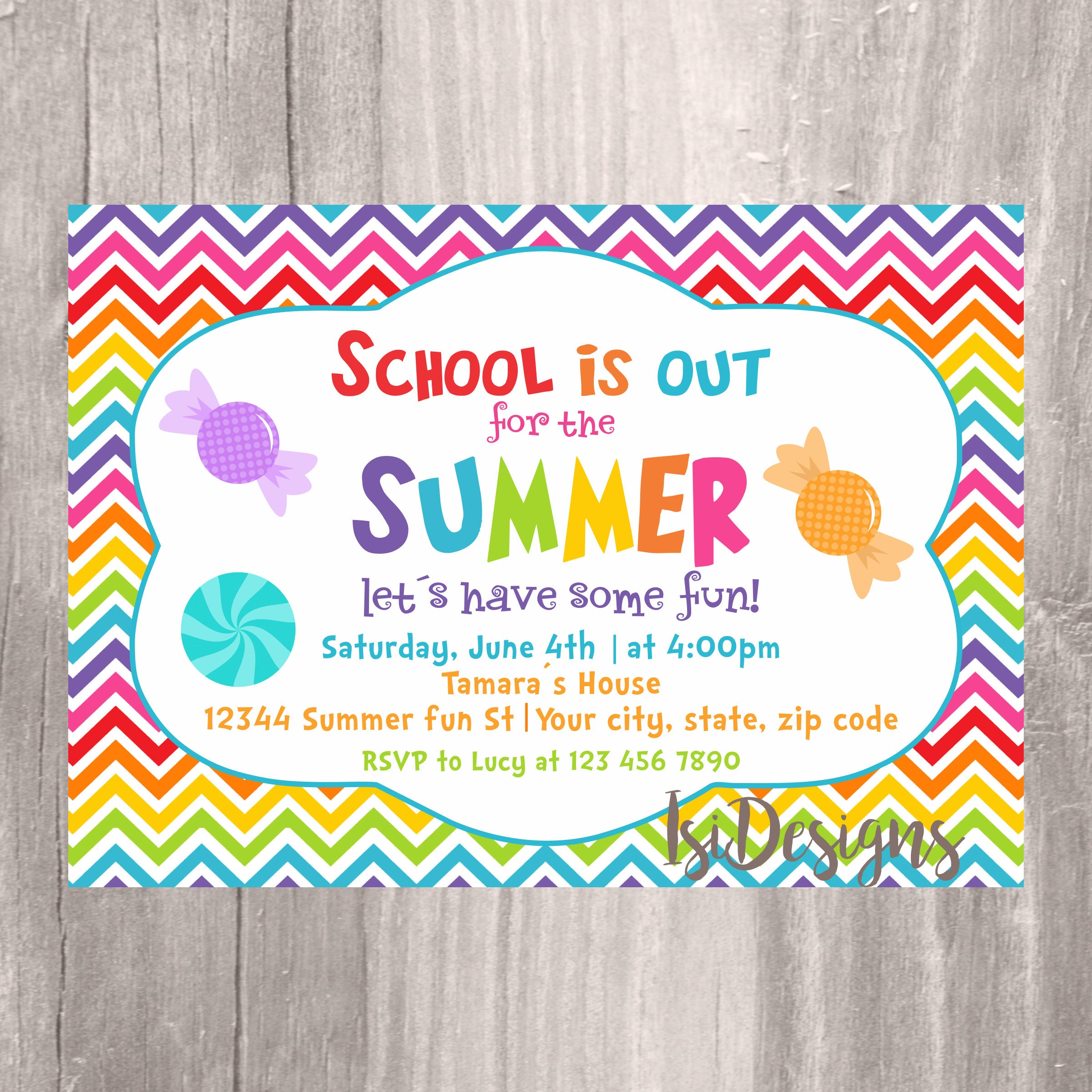 End of the Year Party Invitation Summer Party School\'s