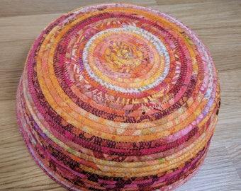 Coiled Basket,  Fabric basket, Large Coil Basket, Storage Basket, Gift Basket, Coiled Rope Basket, catchall batiks