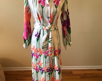 1970s floral dress/ button down dress