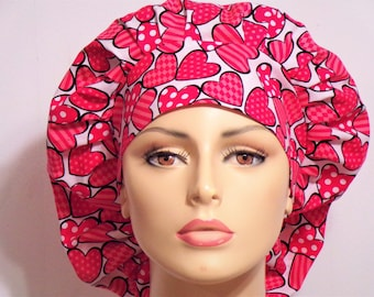 Bouffant Surgical Scrub Hat - Red Valentines Day Hearts Matching Headband Heart Awareness Valentines Day