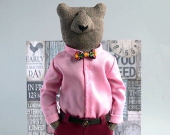 Cool Bear ooak for bear lover, Soft sculpture hipster bear , personalized gift , hipster animals street style , interior bear , ooak teddy
