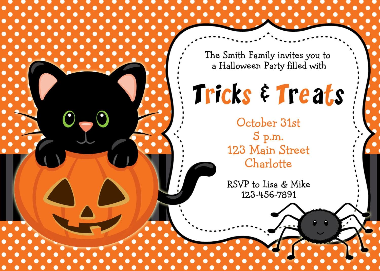 Halloween party invitation Kitty cat halloween birthday