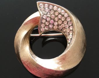 Corocraft Brooch, Gold Brooch, Vintage Coro Pin, Gold Shawl Pin, Gold Crystal Brooch, Vintage Brooch, Vintage Pin, Vintage Jewelry, Gold Pin