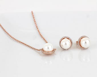 Rose Gold Pearl Wedding Jewelry | Pearl Bridal Jewelry | Bridesmaid Pearl Jewelry | Pearl Sets | Pearl Bracelet | Bridesmaid Gift | Wedding