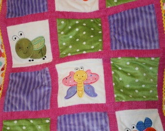 """Appliqued Bugs Minky Baby Blanket """"Roly, Poly Baby Bugs"""""""